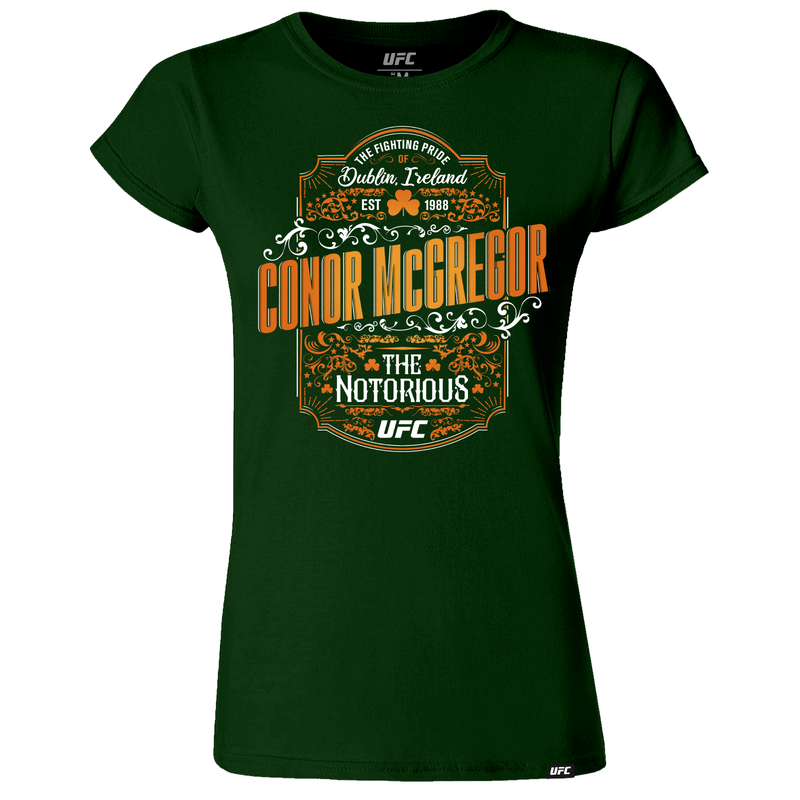 "Women's UFC Conor ""The Notorious"" McGregor Vintage Graphic T-Shirt -Green"