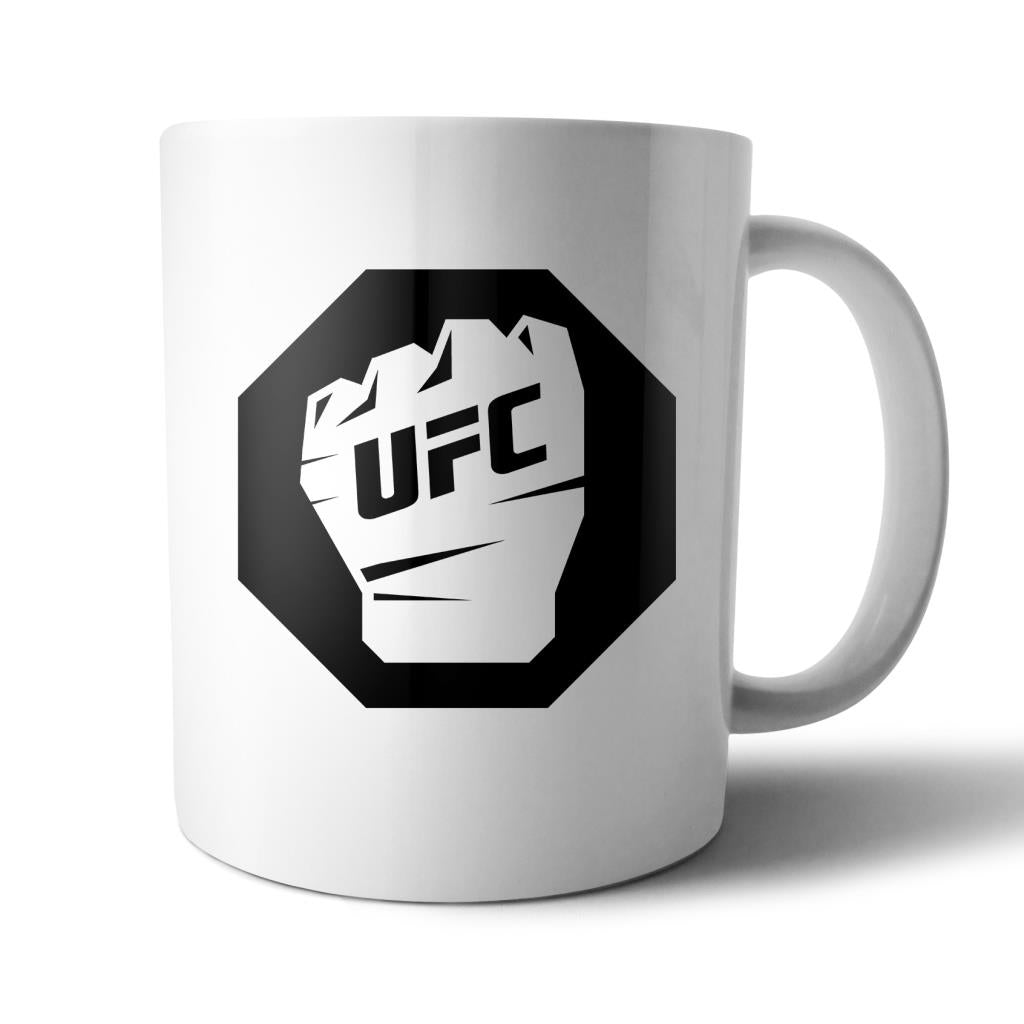 UFC Octagon Black Glove Fist Mug White