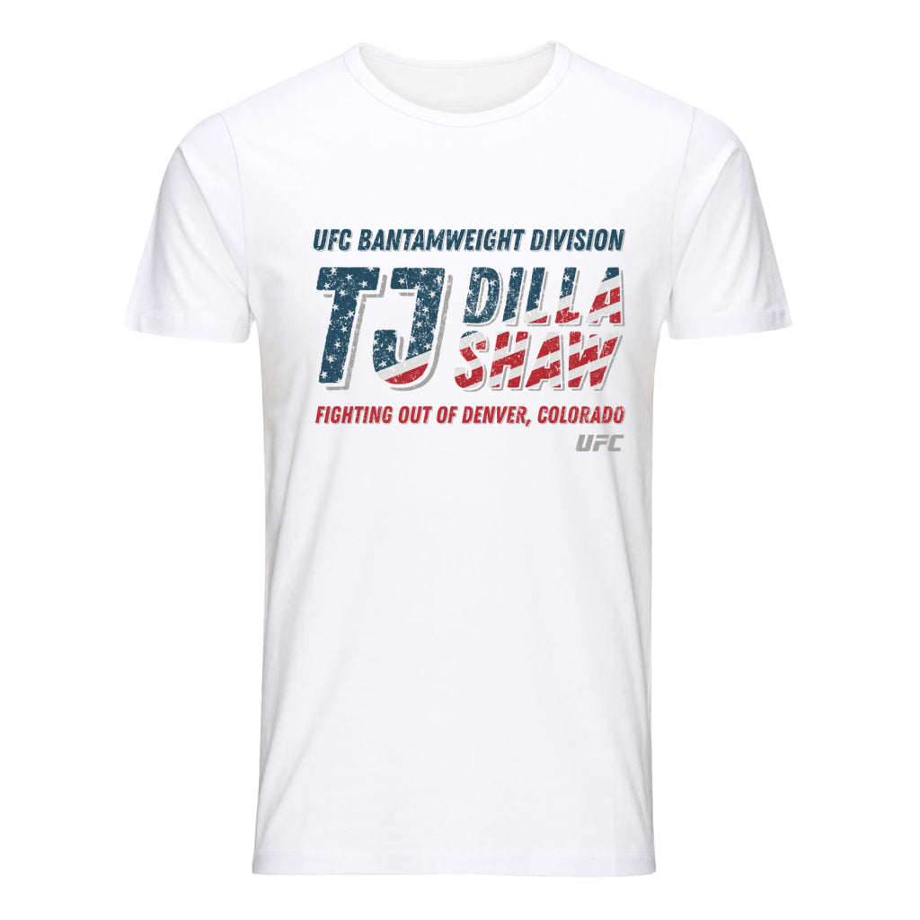 UFC TJ Dillashaw Stars & Stripes Graphic T-Shirt - White