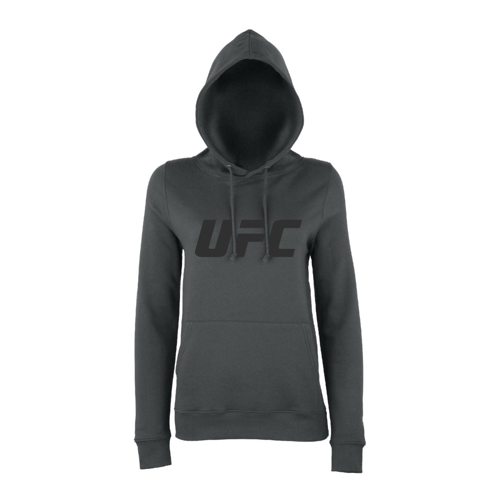 UFC Branded Women's Solid Logo Hoodie - Charcoal