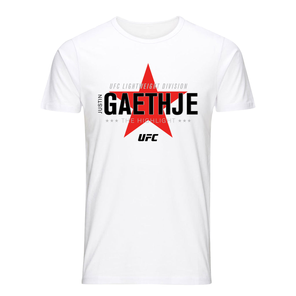 "Men's UFC Justin ""The Highlight"" Gaethje Graphic T-Shirt-White"