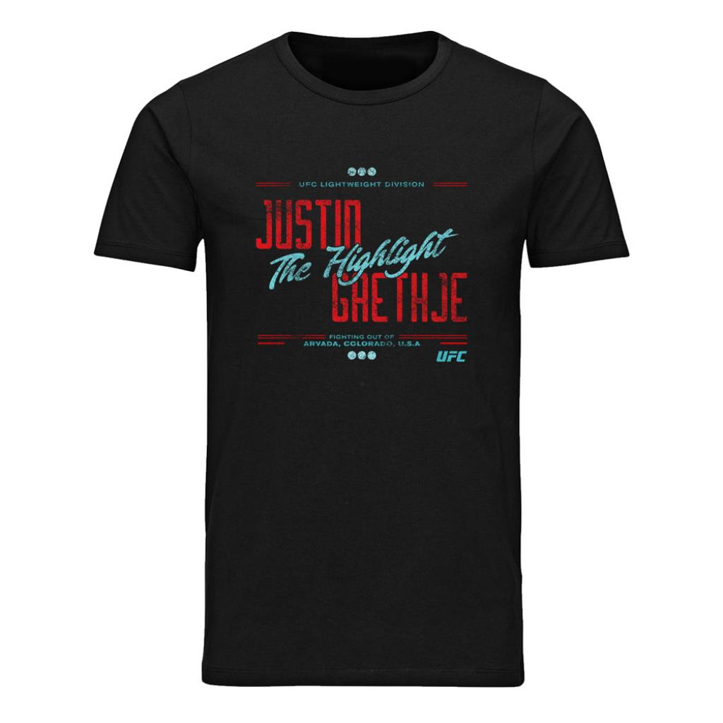 "Men's UFC Justin ""The Highlight"" Gaethje Stacked T-Shirt-Black"