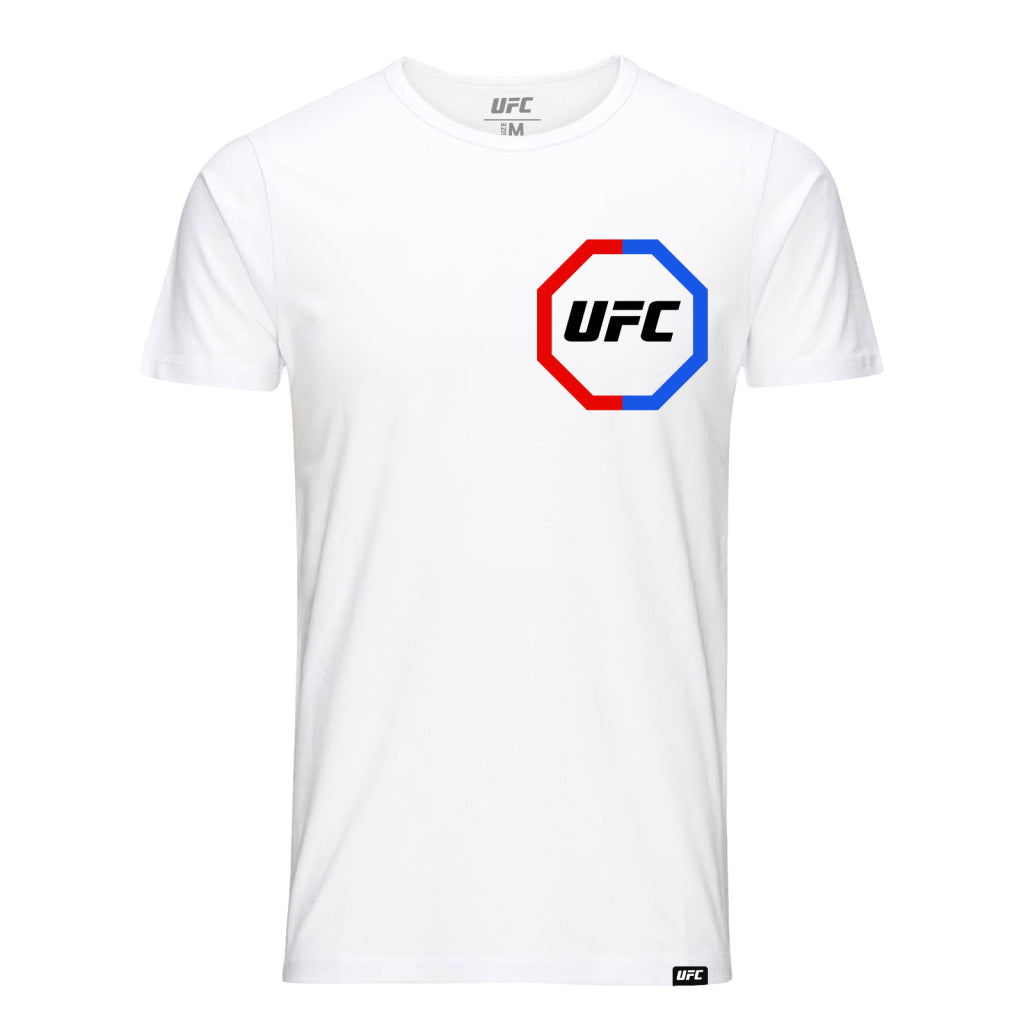 UFC Fighting out of the Red & Blue Corner Octagon T-Shirt -White