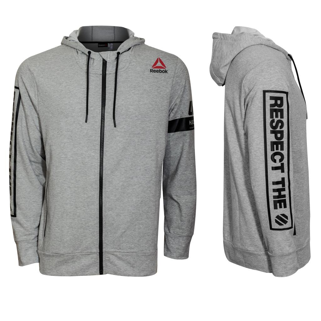 Reebok UFC Full Zip Fleece Hood-Heather Grey