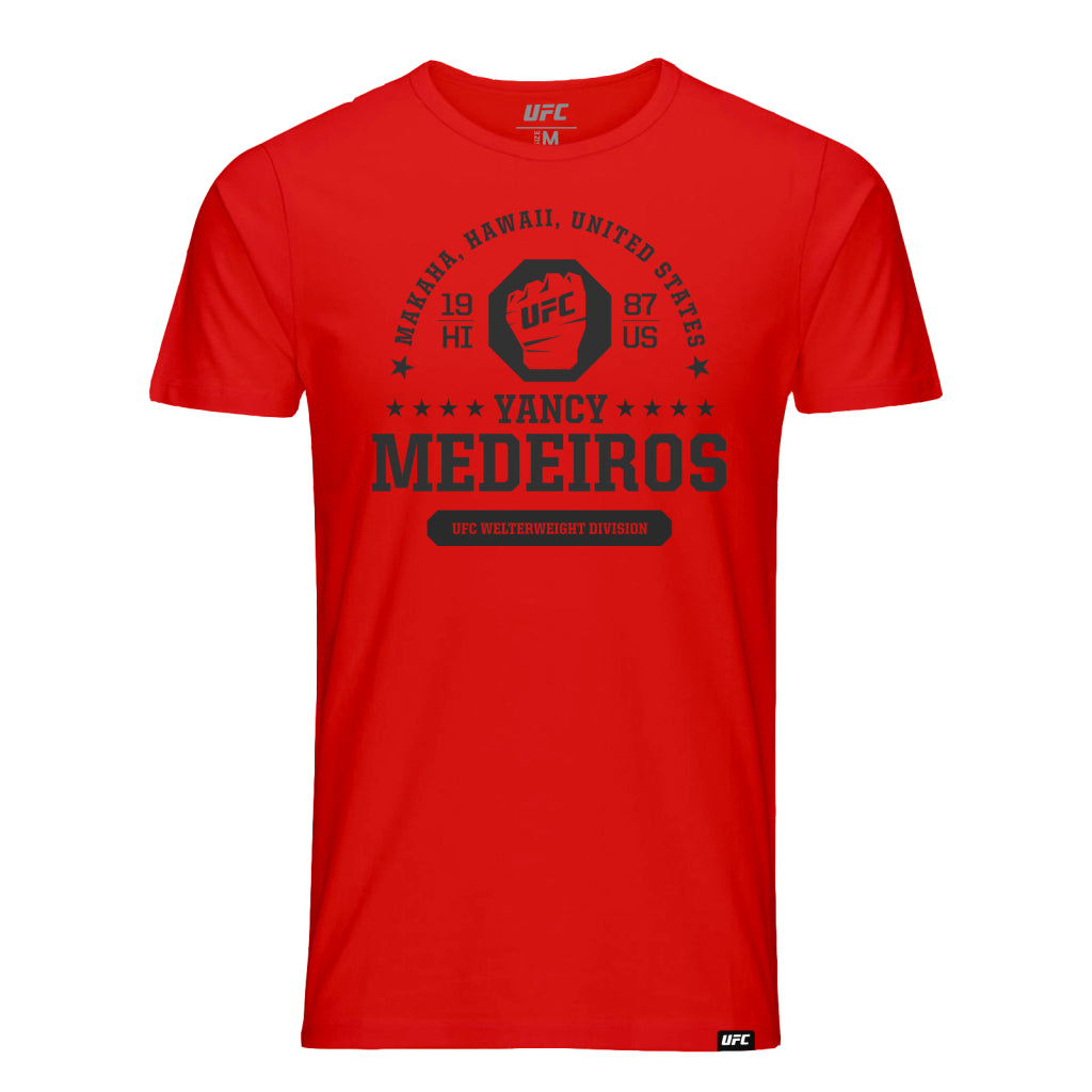 UFC Fight Night Yancy Medeiros Octagon Fist Tee- Red