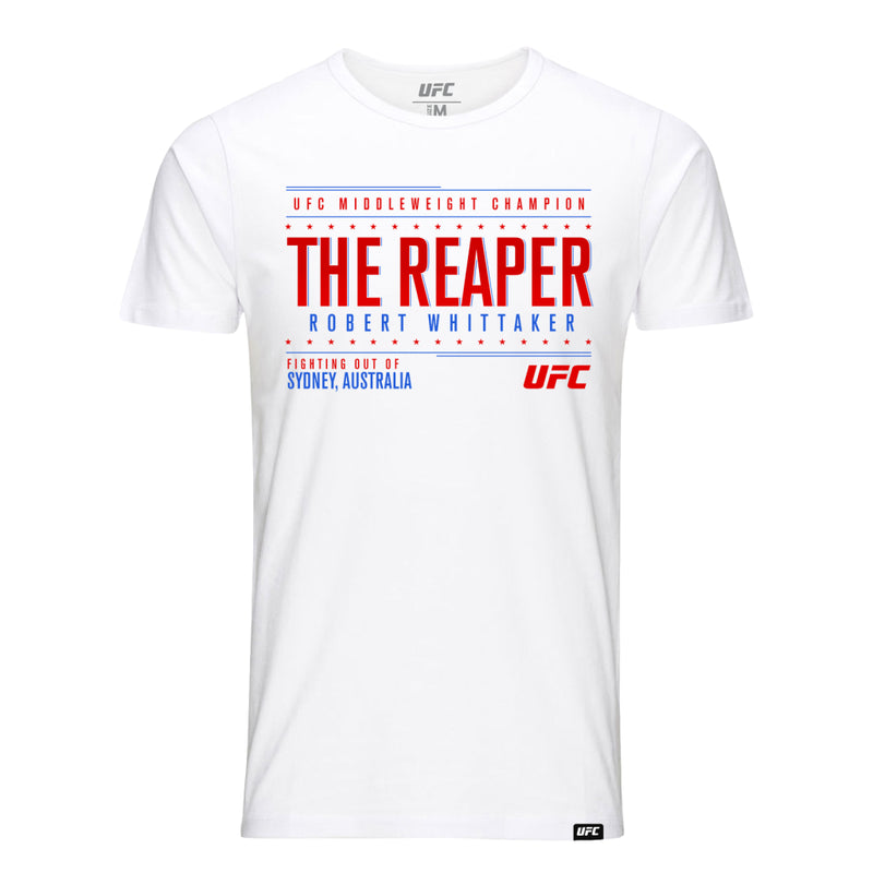 "UFC Robert ""The Reaper"" Whittaker Graphic Tee-White"