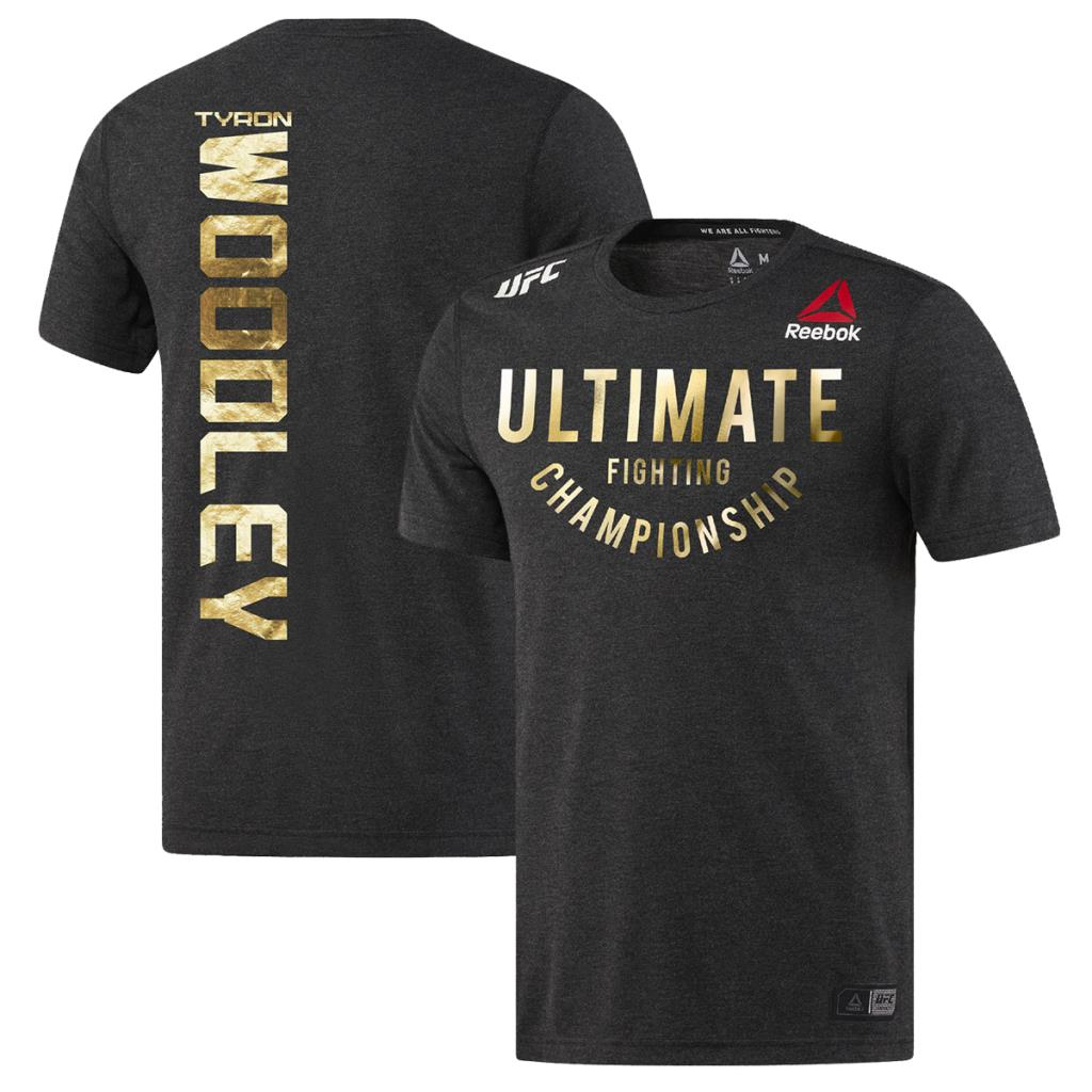 Men's Reebok Tyron Woodley Black Champion Authentic UFC Fight Night Walkout Jersey