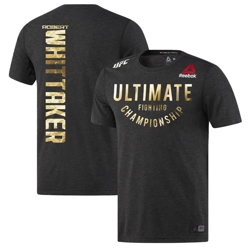 Men's Reebok Robert Whiitaker Black Champion Authentic UFC Fight Night Walkout Jersey