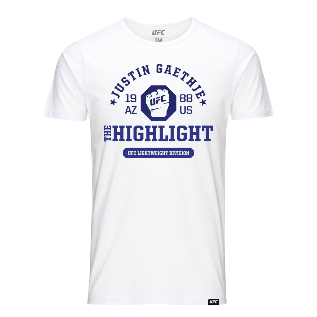 "Men's UFC Fight Night Justin ""The Highlight"" Gaethje Octagon Fist Tee- White"