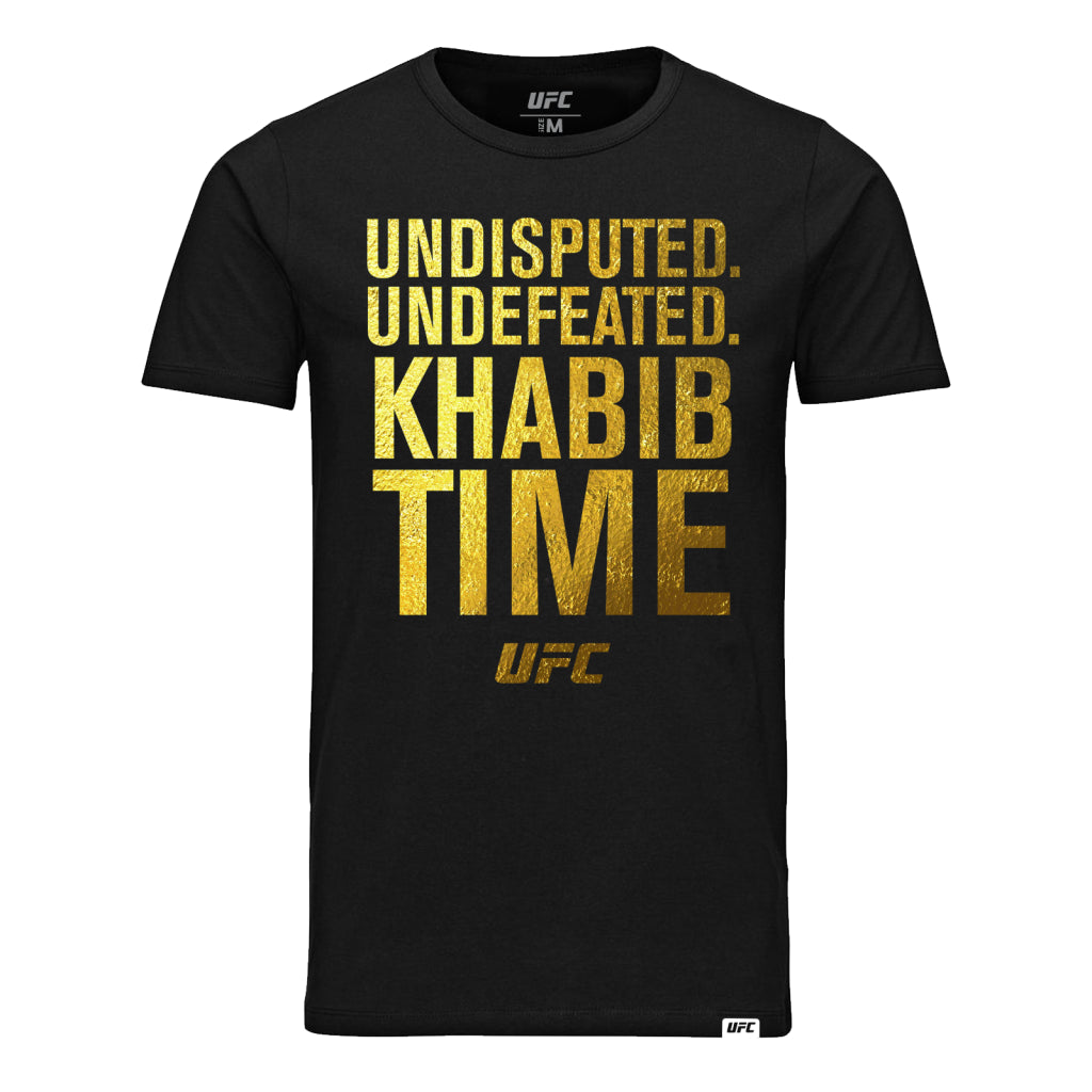"UFC Khabib ""The Eagle"" Nurmagomedov Time Gold Print Quote T-Shirt-Black"