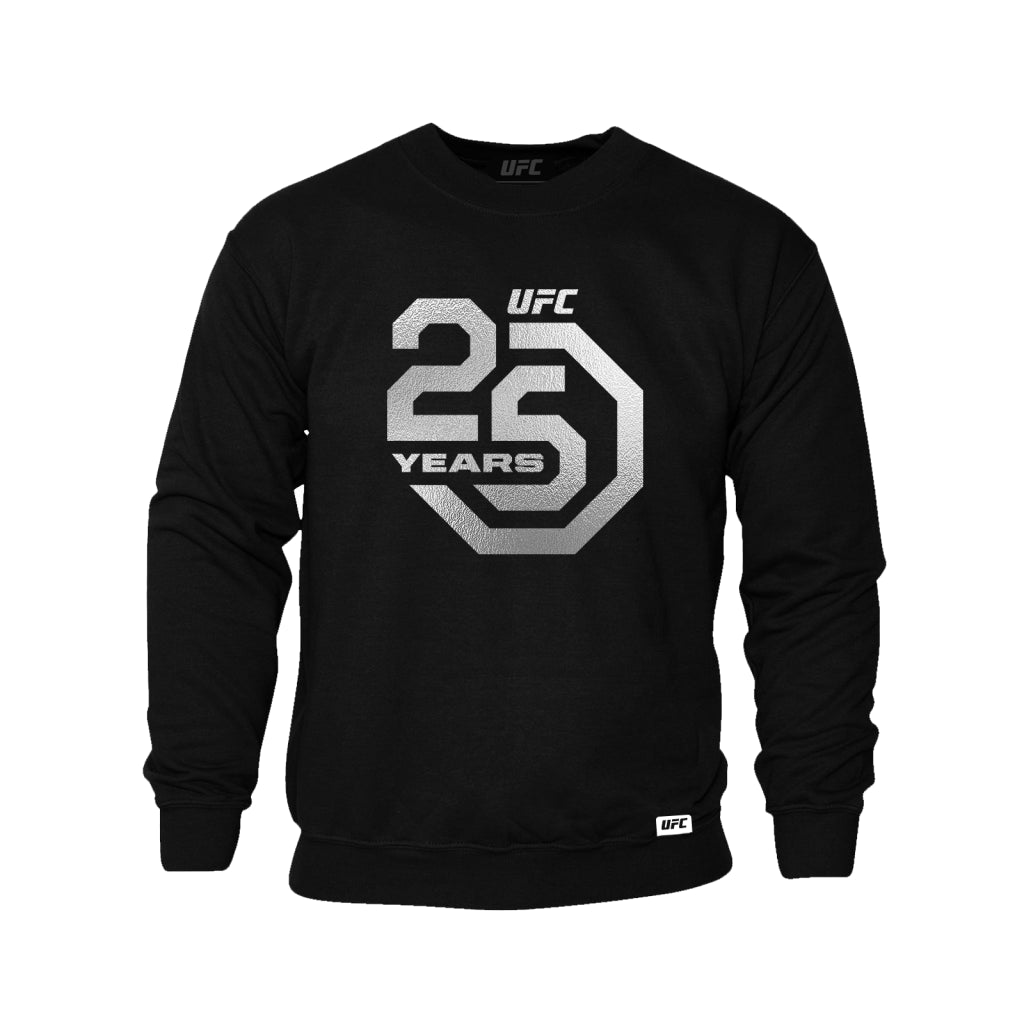 UFC 25th Anniversary Large Logo Silver Foil Sweatshirt - Black
