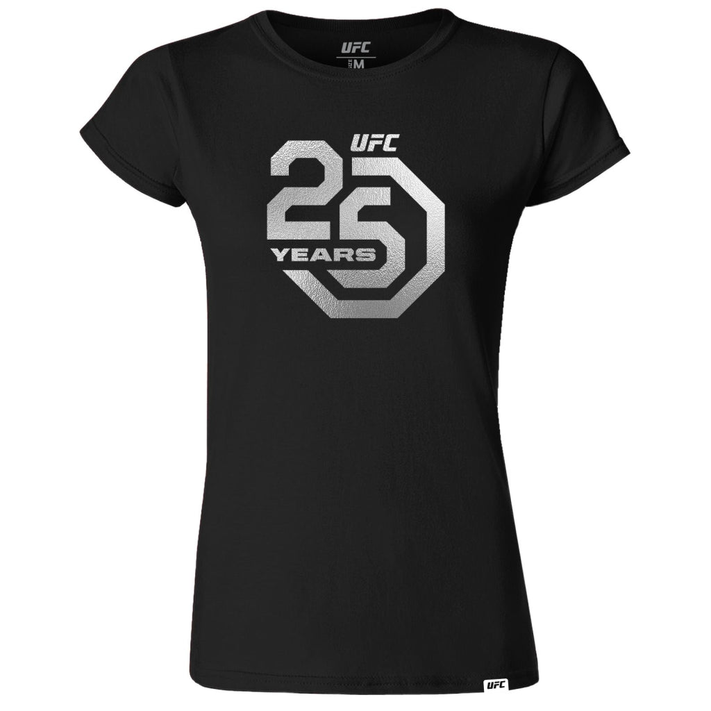 UFC 25th Anniversary Large Logo Silver Foil Women's Tee - Black