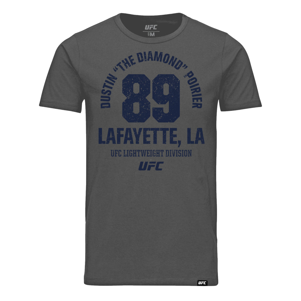 "UFC Dustin ""The Diamond"" Poirier Lafayette LA Est 89 T-Shirt -Charcoal"