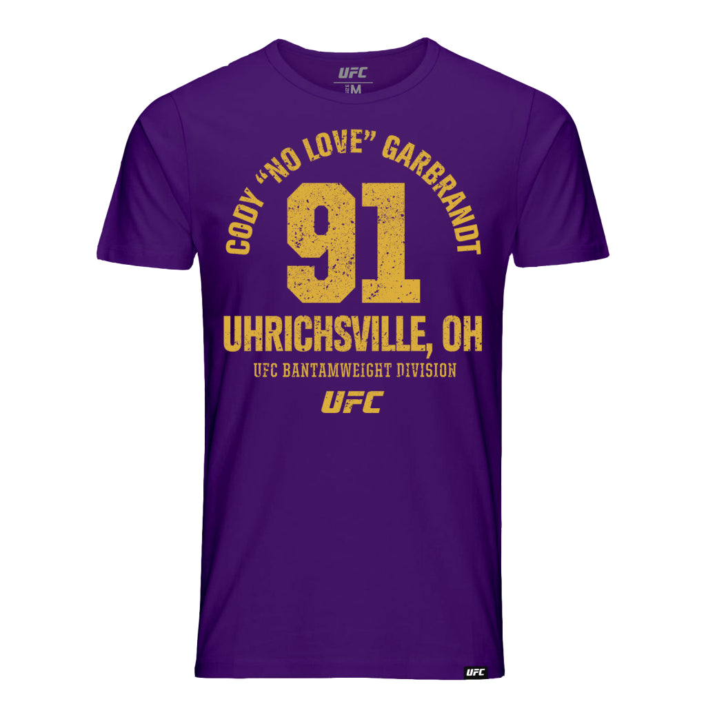 "UFC Cody ""No Love"" Garbrandt Uhrichsville OH Est 91 T-Shirt- Purple"