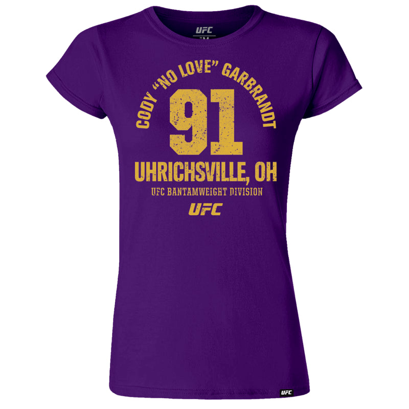 "UFC Cody ""No Love"" Garbrandt Uhrichsville OH Est 91 Women's T-Shirt- Purple"