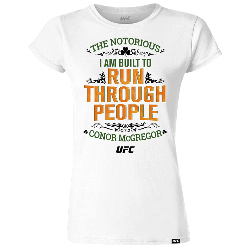 "Conor ""The Notorious"" McGregor Run Through People Women's T-Shirt-White"