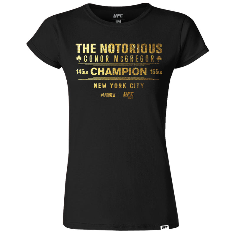 "UFC 205 Conor ""The Notorious"" McGregor Making History Gold Women's T-Shirt-Black"
