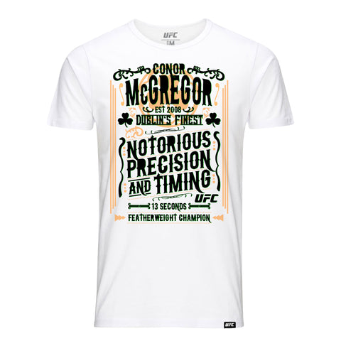 "Conor ""The Notorious"" McGregor Run Through People T-Shirt-White"