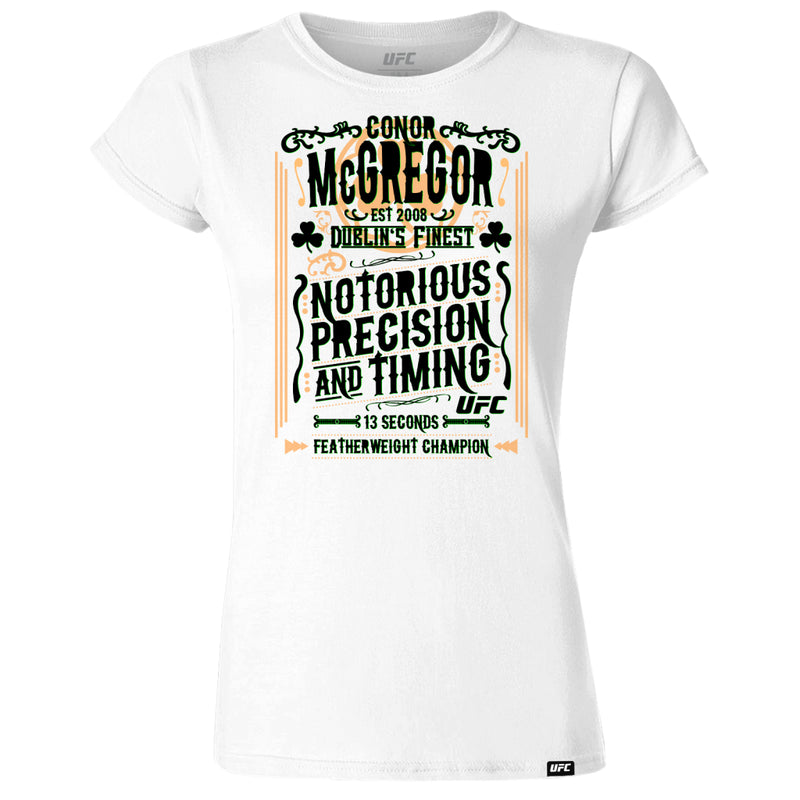 Conor McGregor Precision & Timing Womens T-Shirt -White