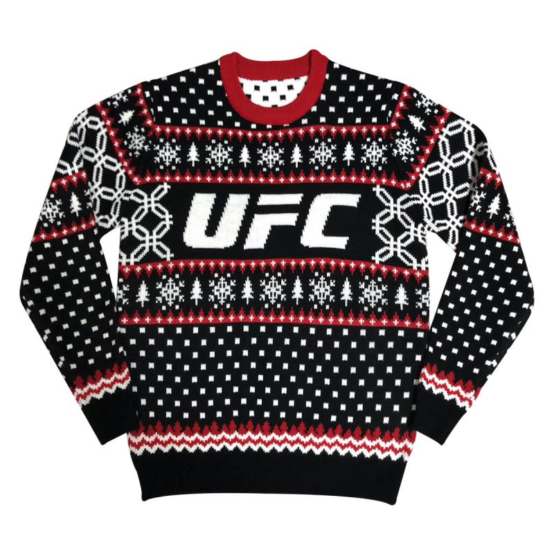 UFC Christmas Knitted Jumper Festive Design In Black