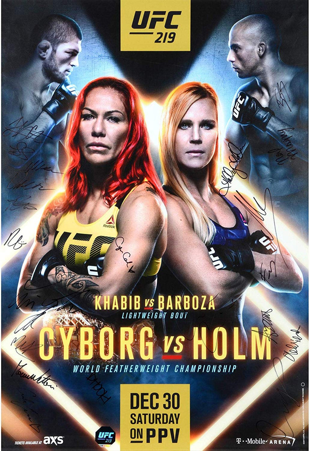 "UFC 219 Cyborg vs. Holm Autographed Signature Fight Poster 27"" x 39"""