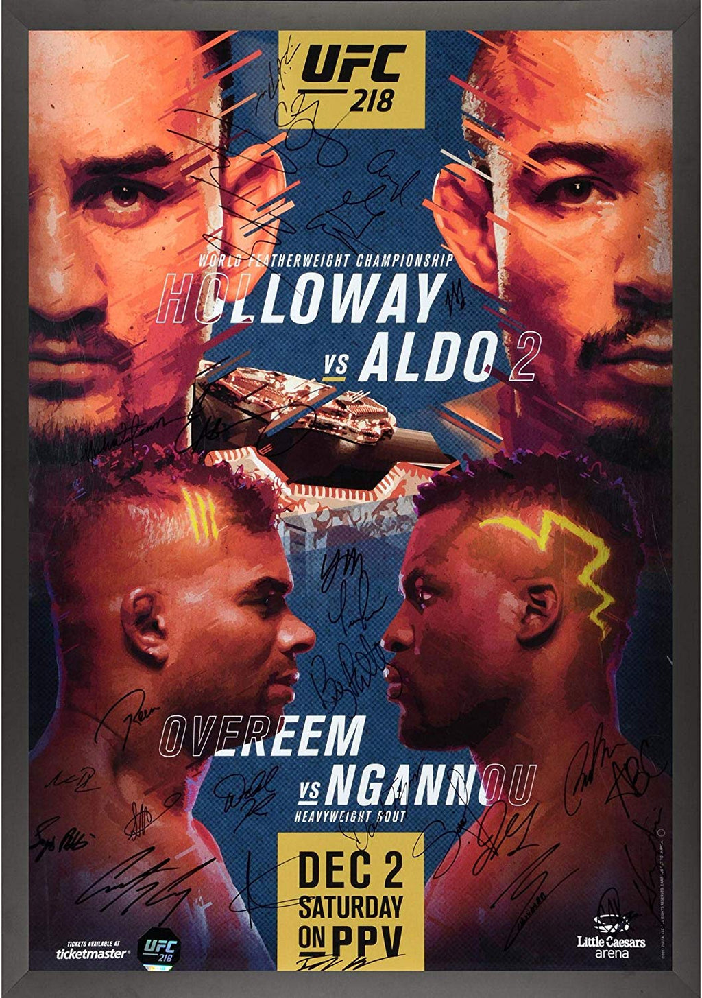 "UFC 218 Holloway vs. Aldo II Framed Autographed Signature Fight Poster 27"" x 39"""