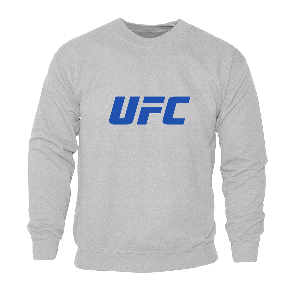 Mens UFC Classic Blue Large Logo Crew Neck Sweatshirt-Grey