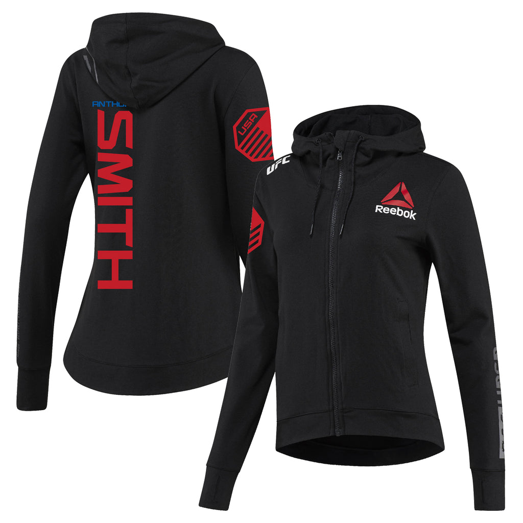 Womens Reebok Anthony Smith Black UFC Fight Night Walkout Hoodie Replica