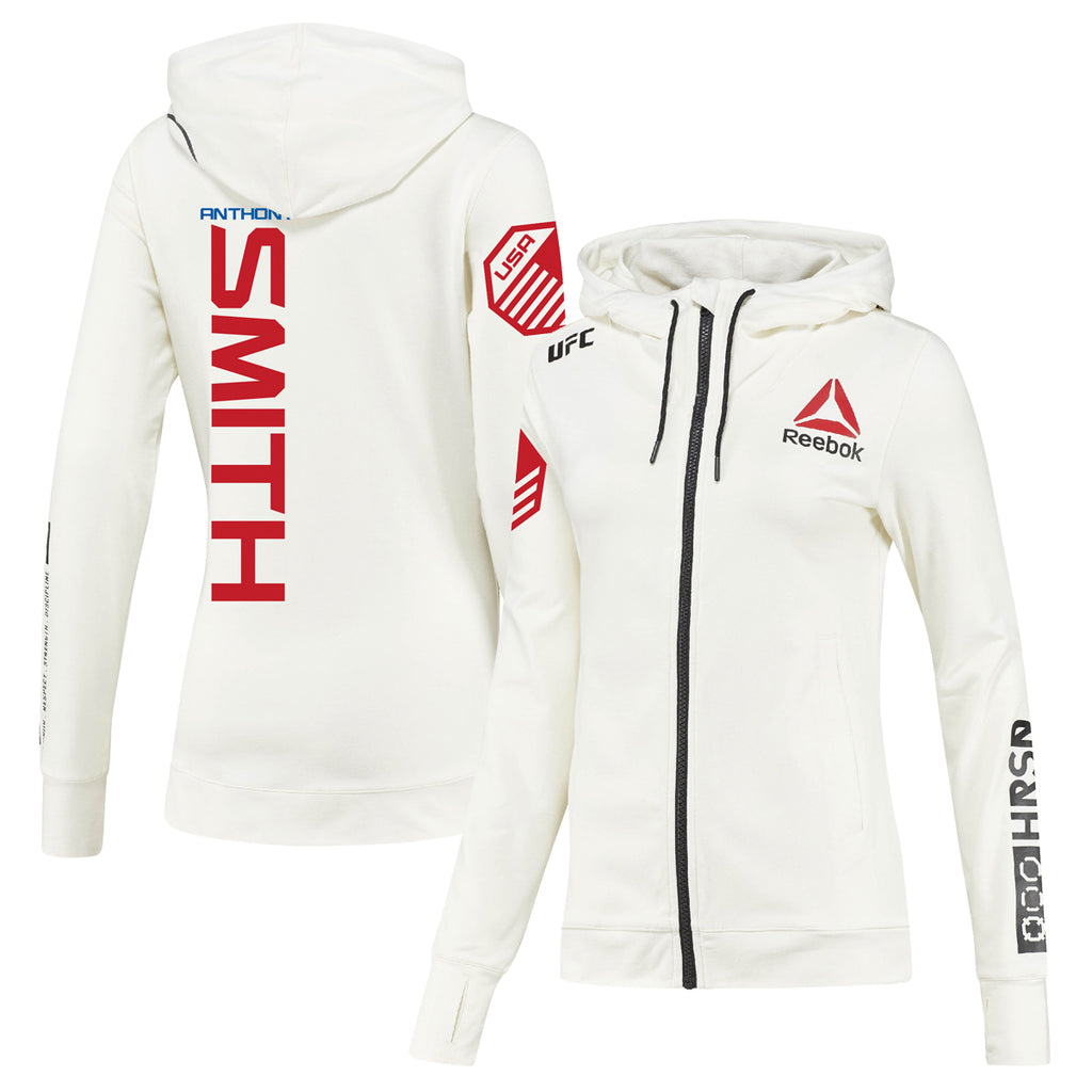 Womens Reebok Anthony Smith Chalk UFC Fight Night Walkout Hoodie Replica