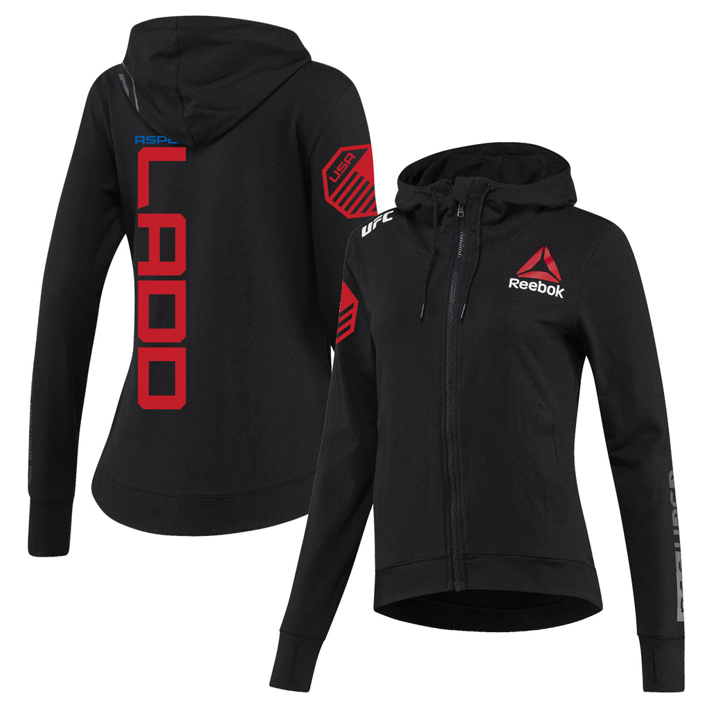 Women's Reebok Aspen Ladd Black UFC Fight Night Walkout Hoodie Replica