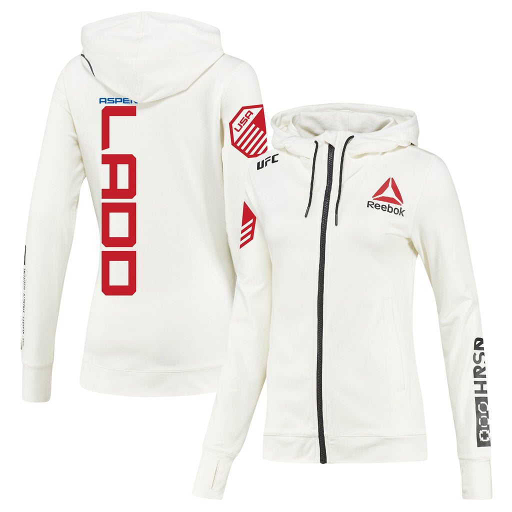 Women's Reebok Aspen Ladd Chalk UFC Fight Night Walkout Hoodie Replica