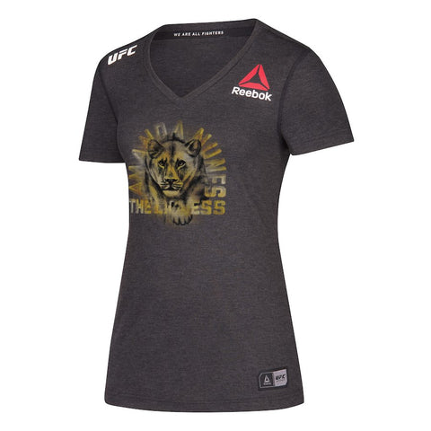 Men's Reebok Amanda Nunes Black Champion Authentic UFC Fight Night Walkout Jersey