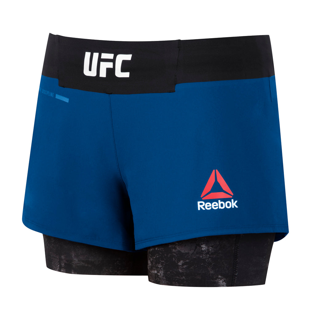 Women's Reebok Authentic Fight Night Blank Octagon 2 in1 Shorts-Navy