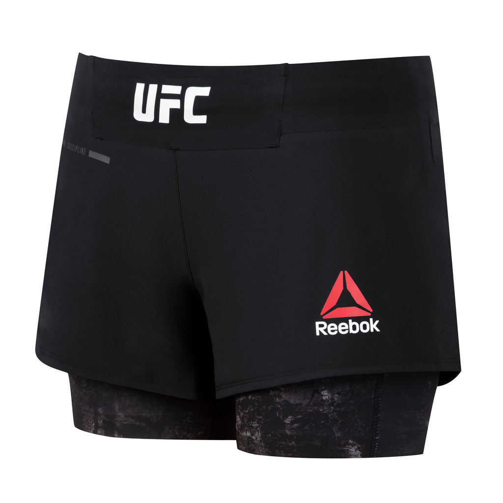 Women's Reebok Authentic Fight Night Blank Octagon 2 in1 Shorts-Black