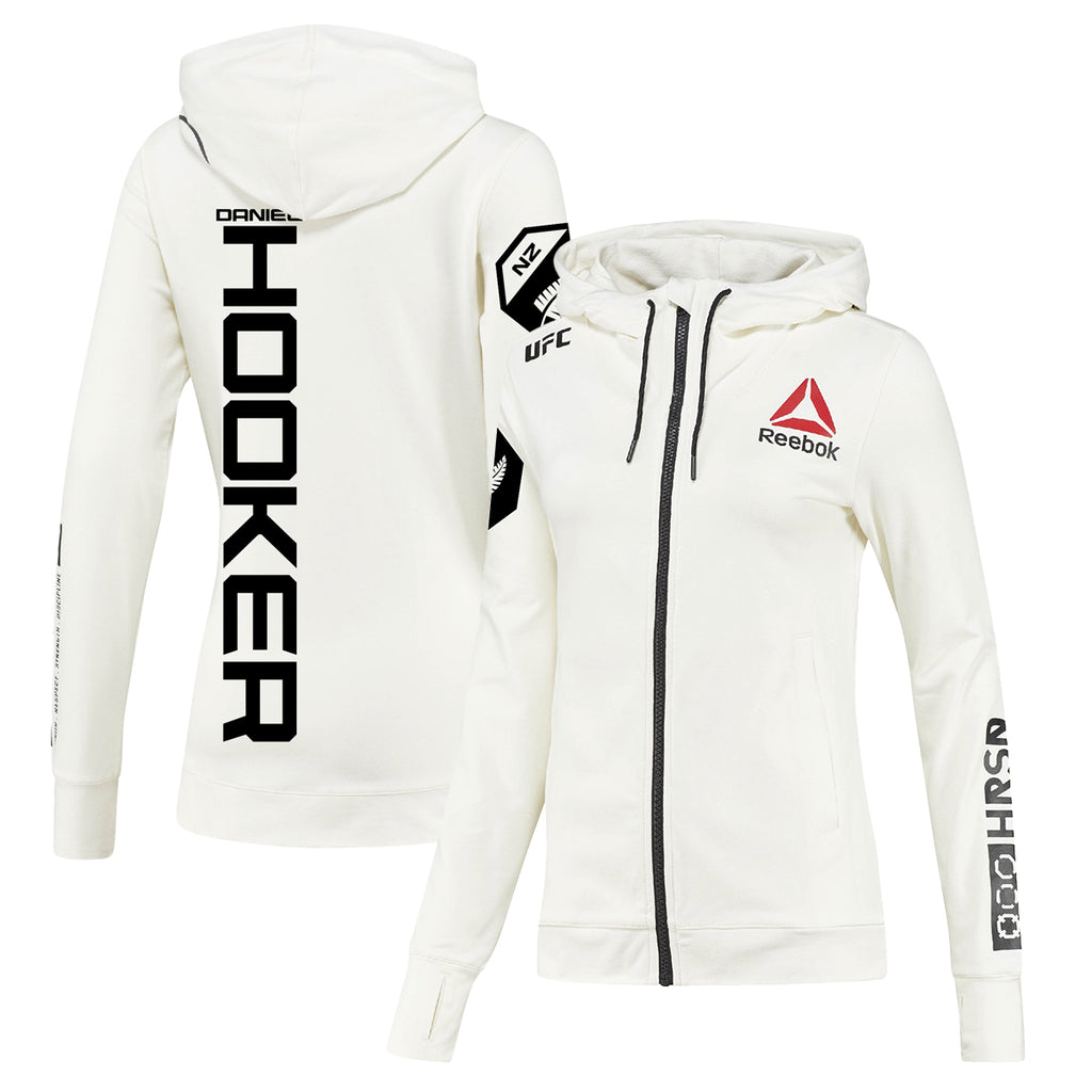 Women's Reebok Dan Hooker Chalk UFC Fight Night Walkout Hoodie Replica