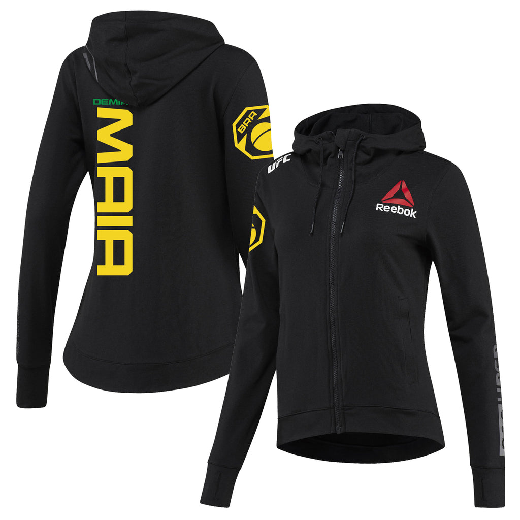 Women's Reebok Demian Maia Black UFC Fight Night Walkout Hoodie Replica