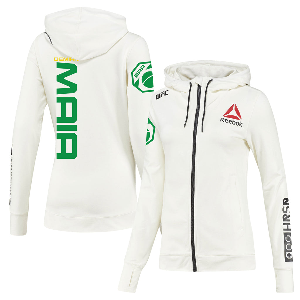 Women's Reebok Demian Maia Chalk UFC Fight Night Walkout Hoodie Replica