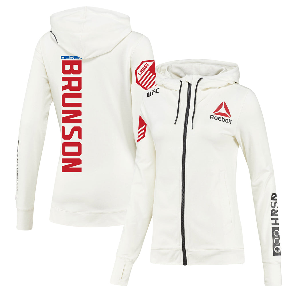 Women's Reebok Derek Brunson Chalk UFC Fight Night Walkout Hoodie Replica