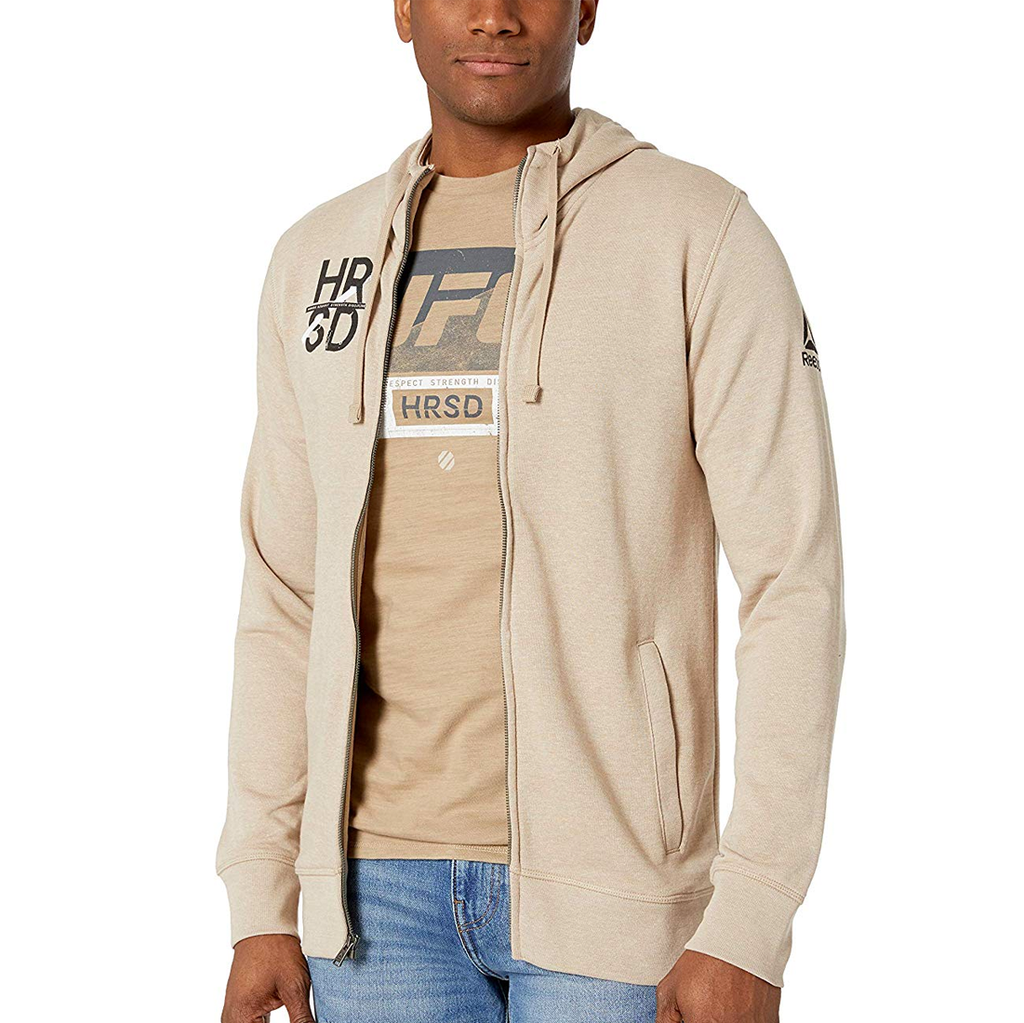 Reebok UFC Fight For More Full Zip Hoodie - Sand