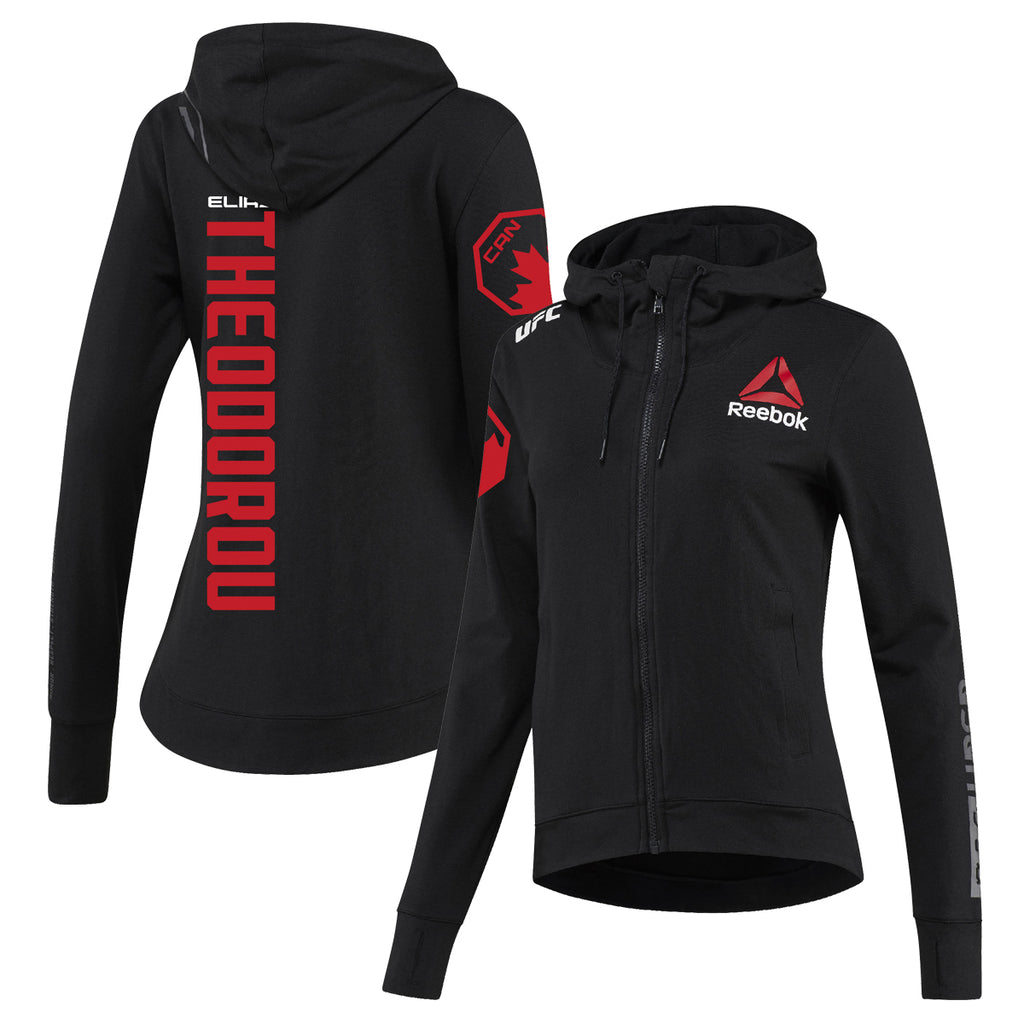 Women's Reebok Elias Theodorou Black UFC Fight Night Walkout Hoodie Replica