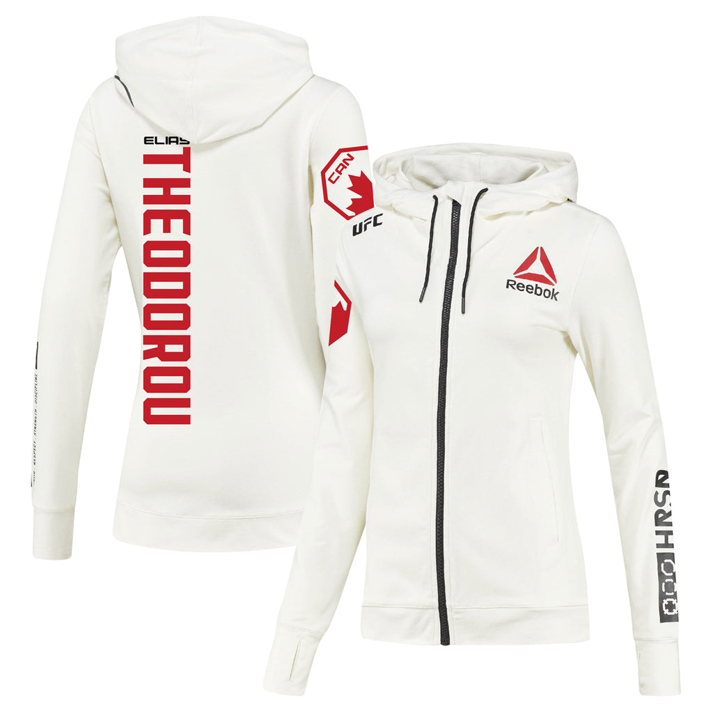 Women's Reebok Elias Theodorou Chalk UFC Fight Night Walkout Hoodie Replica