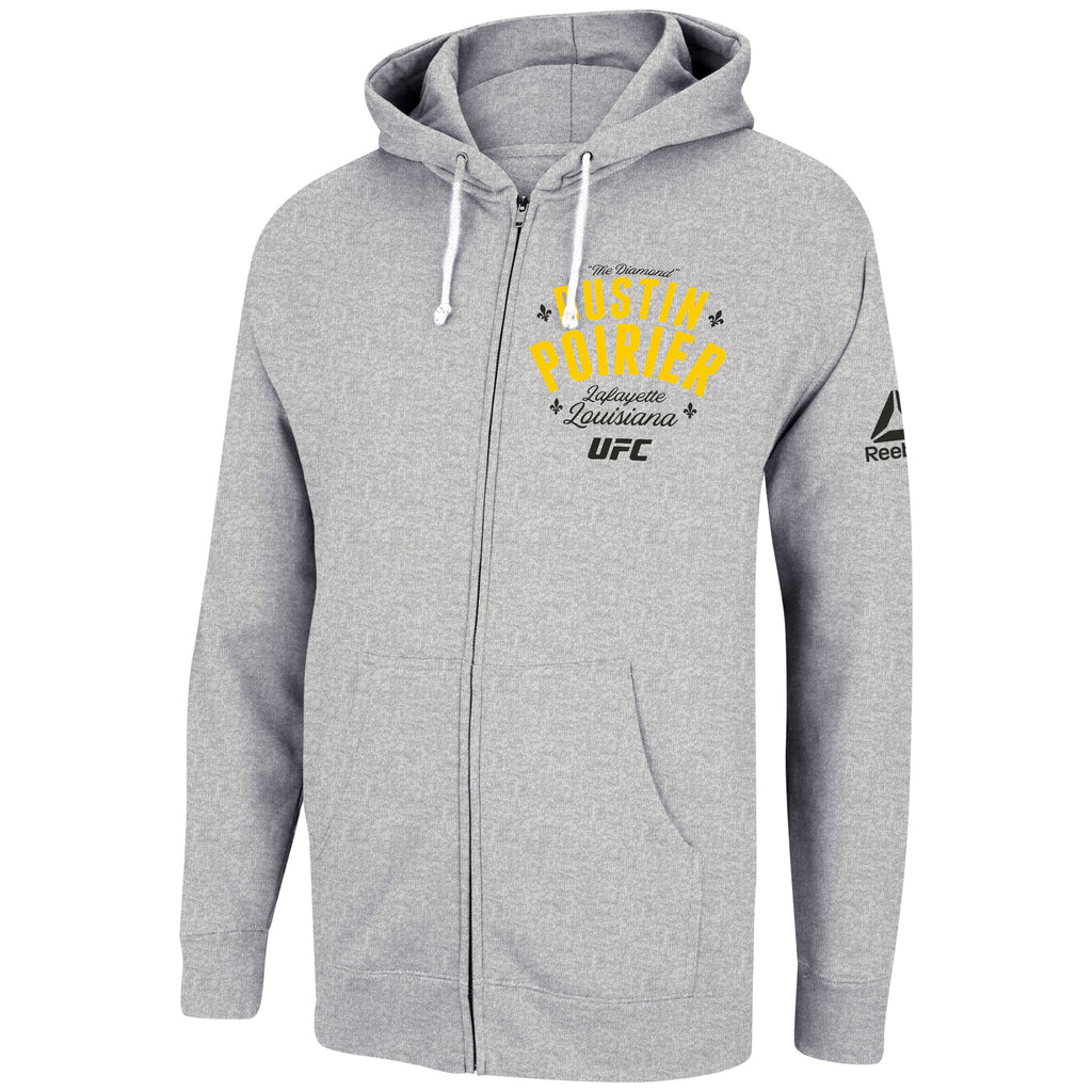 UFC Team Dustin Poirier Sueded Fleece Full Zip Hoodie Dark Grey Heather