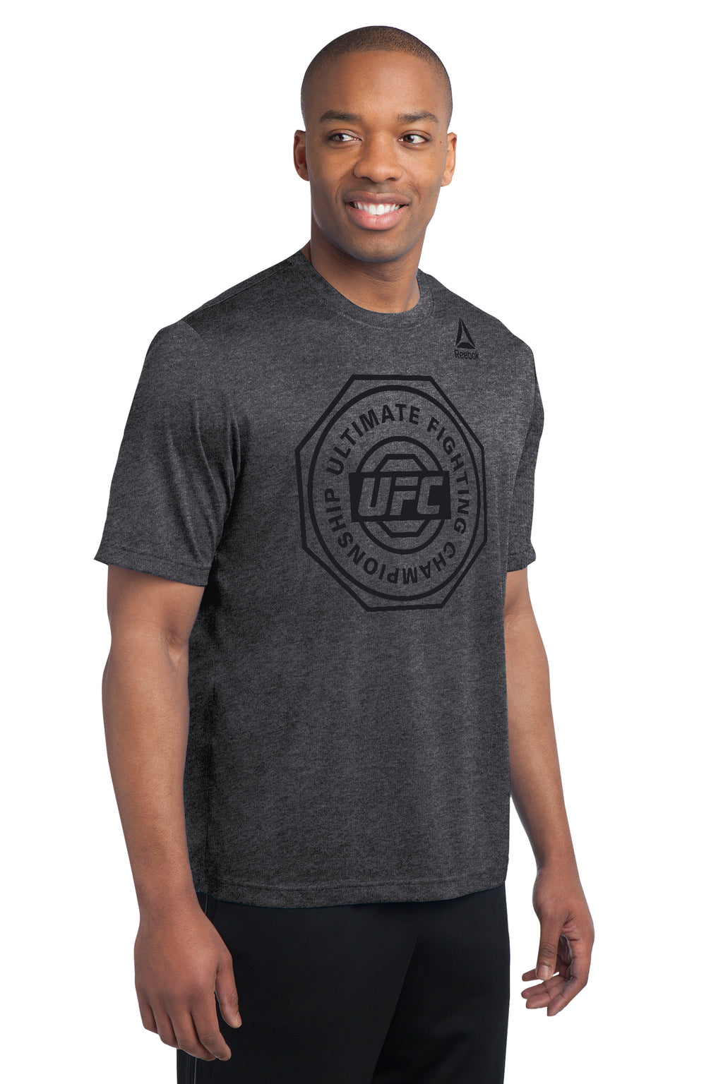 UFC Mens Reebok Ulitimate Crew Performance Tee -Black/Heathered