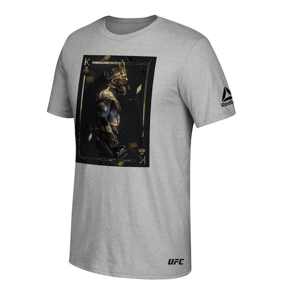 Men's Reebok Conor McGregor Heather Grey UFC BossLogic King Card T-Shirt