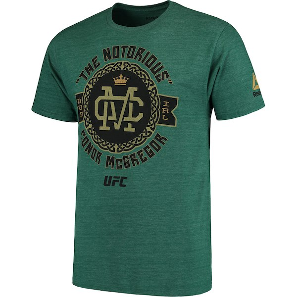 Men's Reebok Conor McGregor Green UFC Notorious Celtic Badge T-Shirt