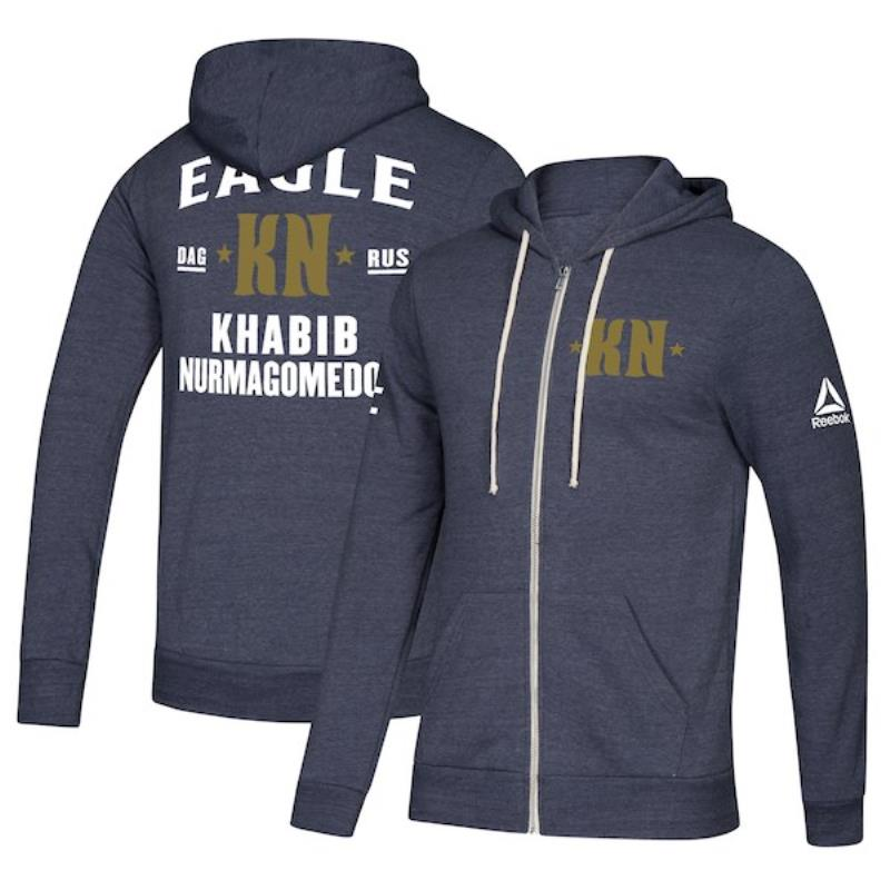 Men's Team Khabib Nurmagomedov Soft Fleece Full Zip Hoodie- Navy Heather