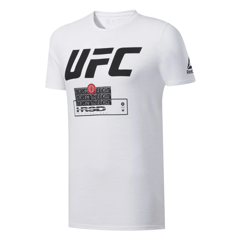 "Men's Reebok White UFC Fan Gear ""Respect The Fight"" T-Shirt"