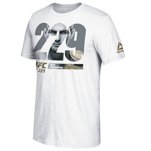 Men's Reebok Khabib Nurmagomedov White UFC 229 Pierce Through Photo T-Shirt