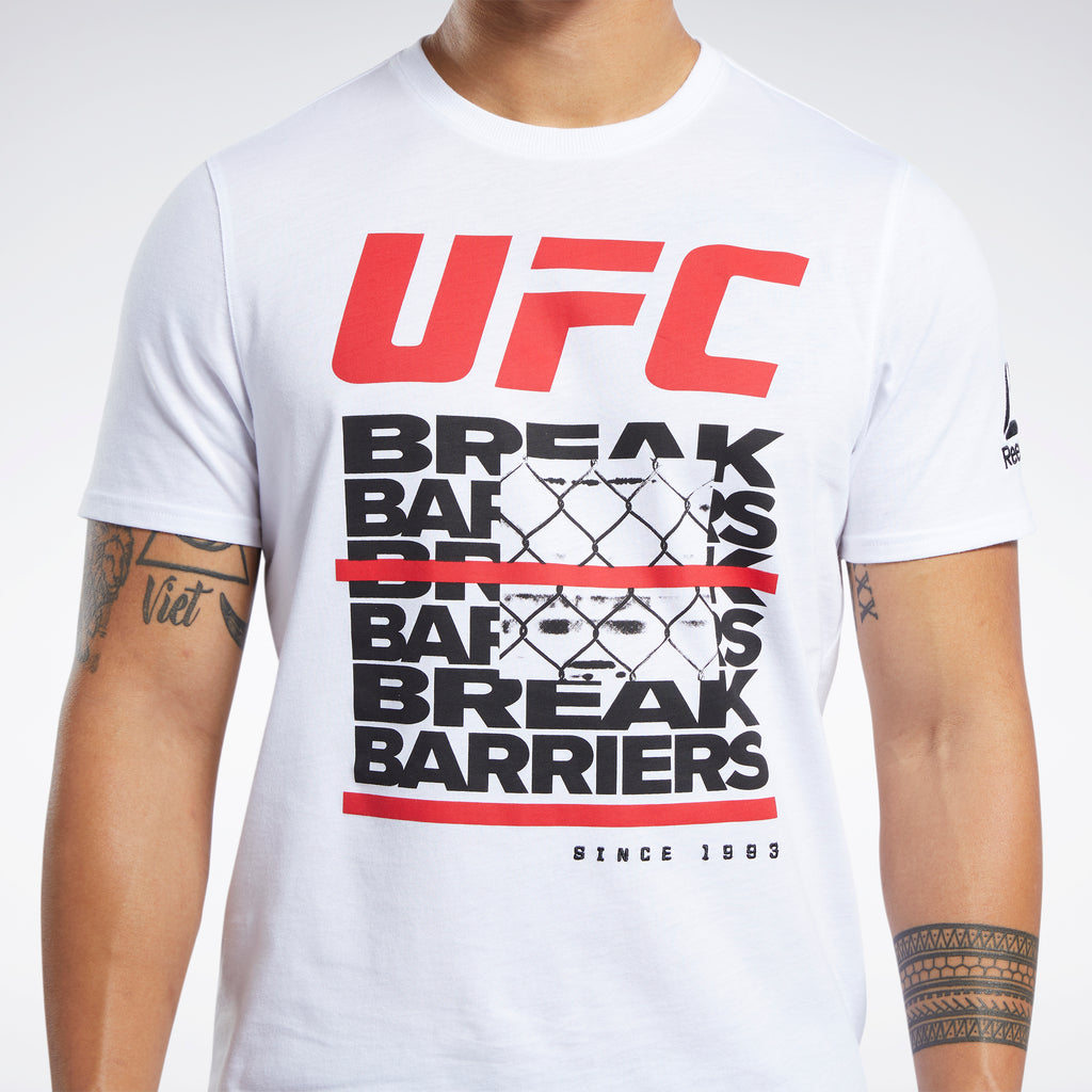 "Men's Reebok White UFC Fan Gear ""Break Barriers"" T-Shirt"