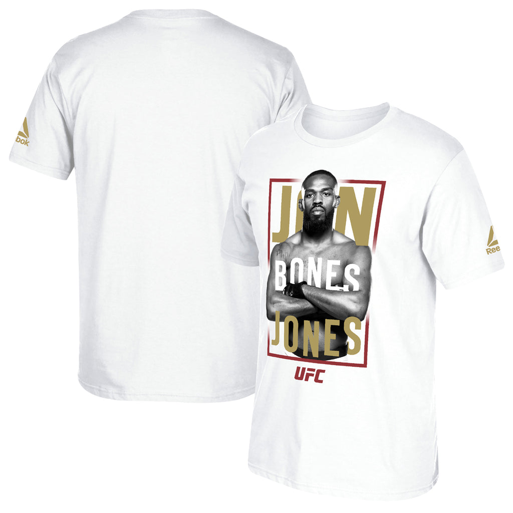 Jon Bones Jones Reebok Photo Stance Short Sleeve T-Shirt - White